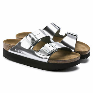 fde9711052fab Image is loading PAPILLIO-Birkenstock-Sandals-ARIZONA-silver-black-Platform -leather-
