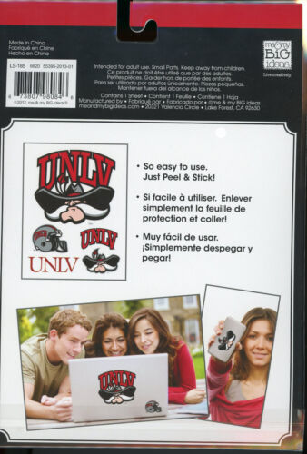 """UNLV 5 Laptop Sticks Decals 5/"""" and smaller peel n stick easy to use new"""