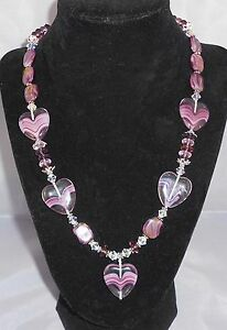 LAVENDER-LOVE-Valentine-Purple-Glass-Hearts-Crystal-20-034-Necklace