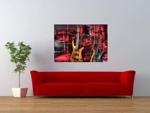 Drums Guitars Bass Music Instrument Giant Wall Art Poster Print