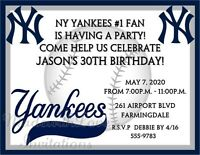 York Yankees Baseball Invitations Birthday Bachelor Party Any Team Or Age