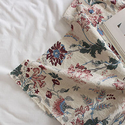 "Linen Fabric Flower Fabric by the yards 55/"" Wide Cozy Kenzo Big Flower"