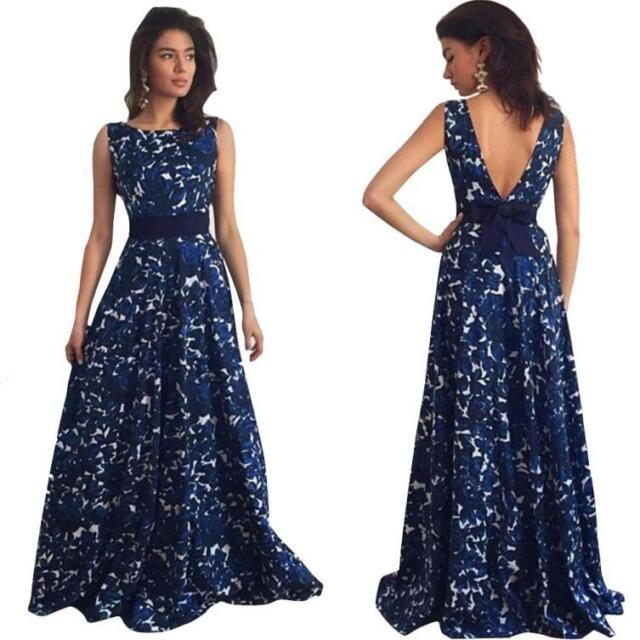 US Women\'s Long Cotton Sleeveless Evening Party Prom Gown Formal ...