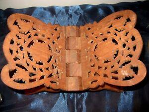 Vintage-Ornately-Carved-Wood-Folding-Bible-Book-Stand-Holder-Display