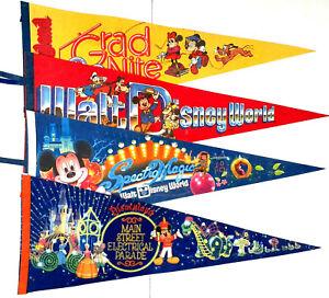 Vintage-Disney-World-Disneyland-Pennant-LOT-OF-4-RARE-Electric-Parade-80s-90s