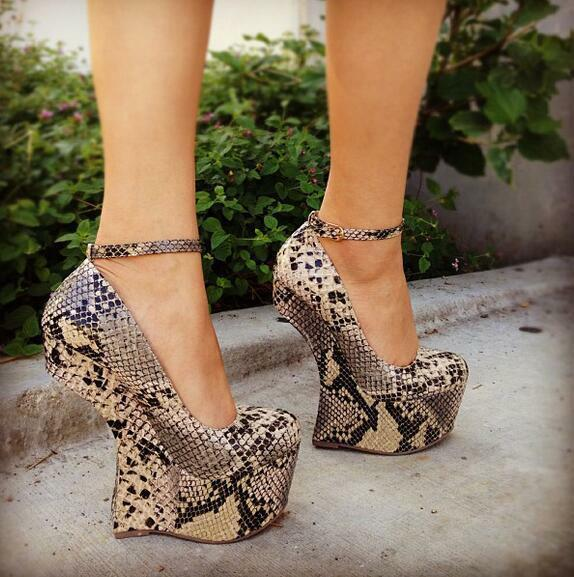 alta quaità donna Print Platform Front Front Front Wedge High Heel Vogue club scarpe Ankle Strap Clubwear  consegna lampo