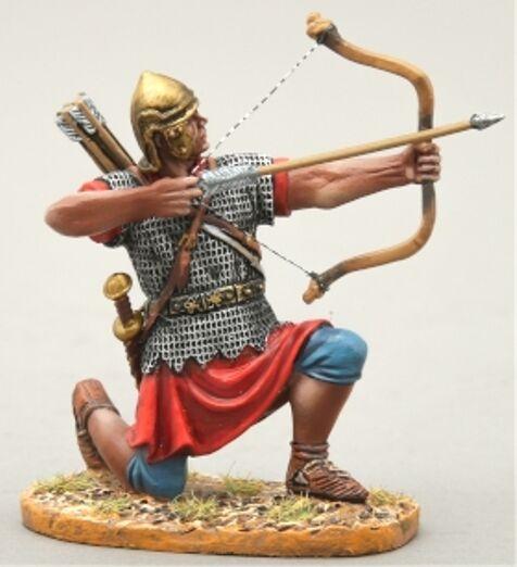 Thomas Gunn Roman Empire rom023b Bogenschütze kniend brennen gerade Bronze Helm