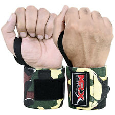 """WEIGHT LIFTING TRAINING WRIST SUPPORT WRAPS GYM BANDAGE STRAPS CAMO GREEN 18"""""""