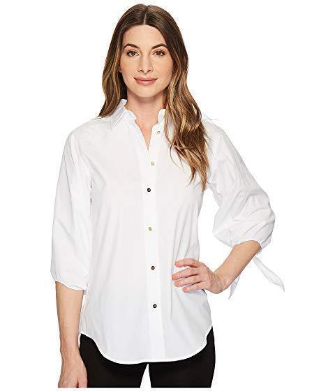 NWT LAUREN Ralph Lauren damen  Medium Cotton Tie-Sleeve Gold Button Shirt