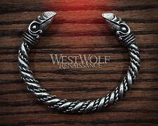 Silver Viking Odin's Raven Head Bracelet --- Norse/Medieval/Pewter/Jewelry/Torc