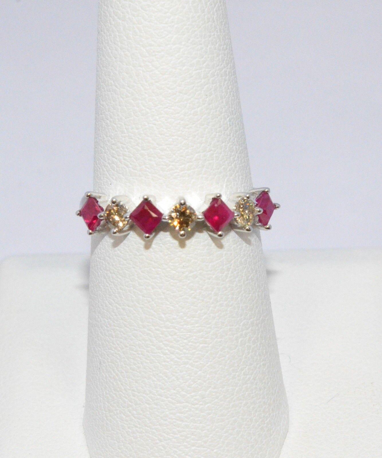 2136-14K WHITE gold RUBY & DIAMOND RING 0.58TCW 2.20 GRAMS SIZE 7.25