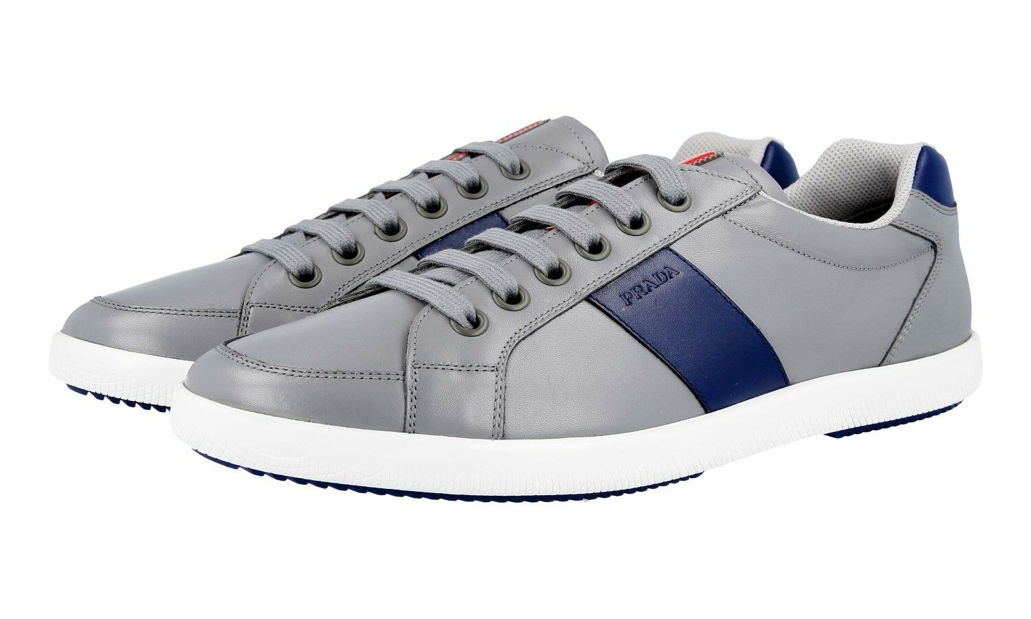 LUXUS PRADA SNEAKER SCHUHE 4E2845 grey blue NEU NEW 9,5 43,5 44