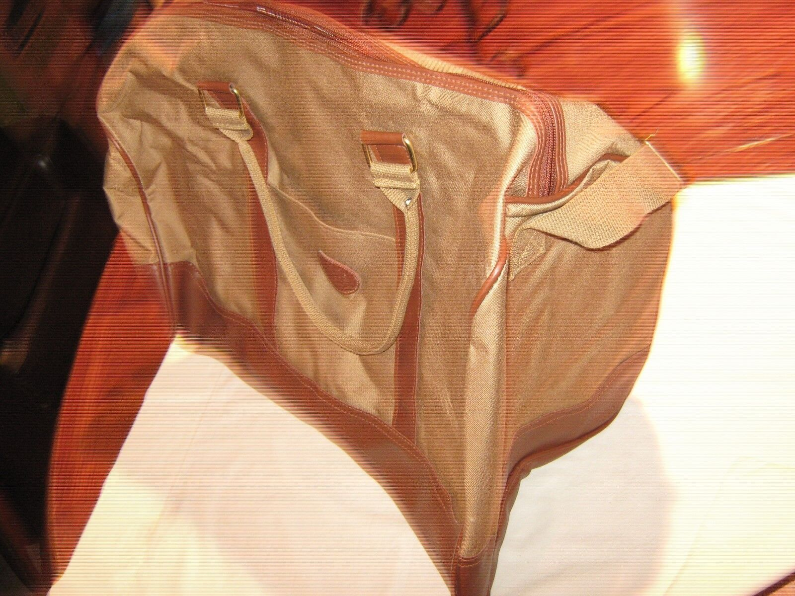 "Traveling or Work Bag, Brown Nylon, ""Faux"" Leather Bord"