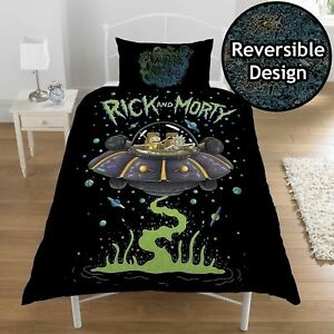 RICK-AND-MORTY-SINGLE-DUVET-COVER-BEDDING-SET-UFO-SPACESHIP-NEW