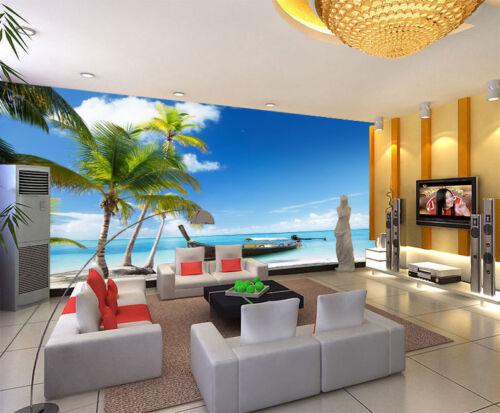 Palms Beach Tropical Sea Boat 3D Full Wall Mural Photo Wallpaper Home Decal Kids