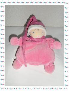 F-Doudou-Peluche-Poupee-Lutin-Rose-avec-Bonnet-Nounours
