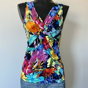Small-Womans-CABLE-amp-GAUGE-Woven-Cross-Front-Sleeveless-Floral-Blouse-Top