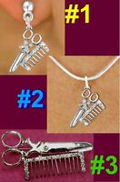 Scissors Comb Stylist Necklace Beautician Crystal Profession Brooch Mom Jewelry
