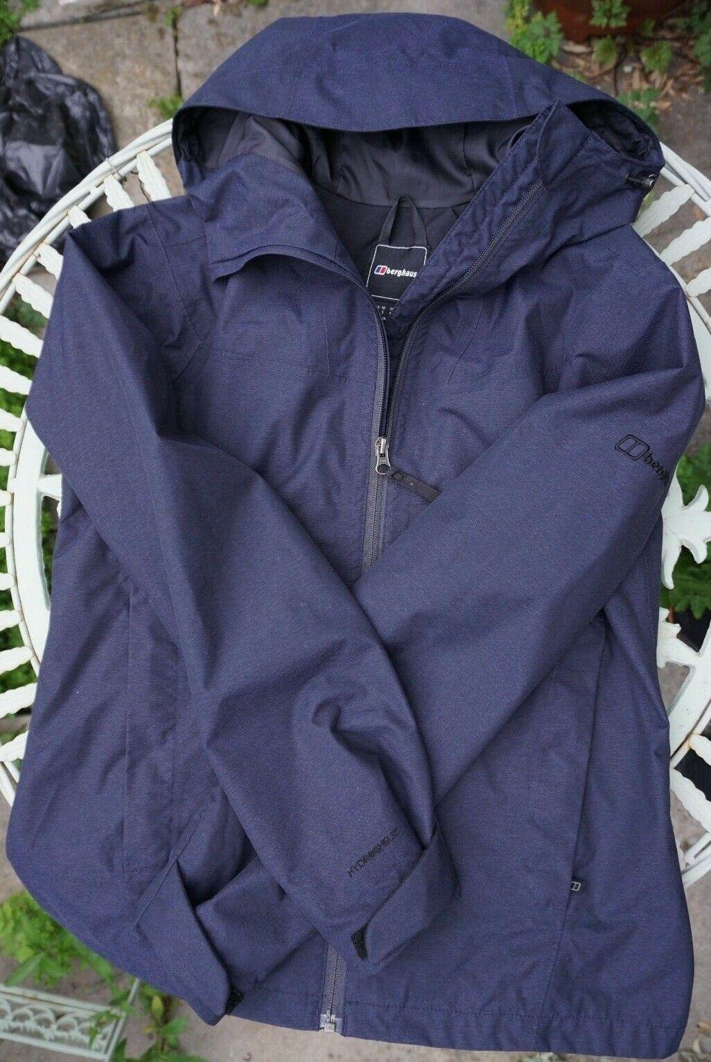 Womens BERGHAUS Hydroshell Blue Hooded Waterproof Jacket Coat Size UK 10
