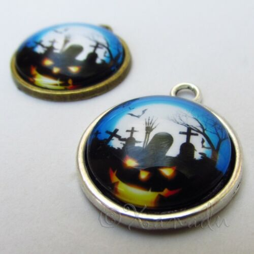5 Or 10PCs 2 Halloween Graveyard 26mm Glass Cabochon Charm Pendants C3611B