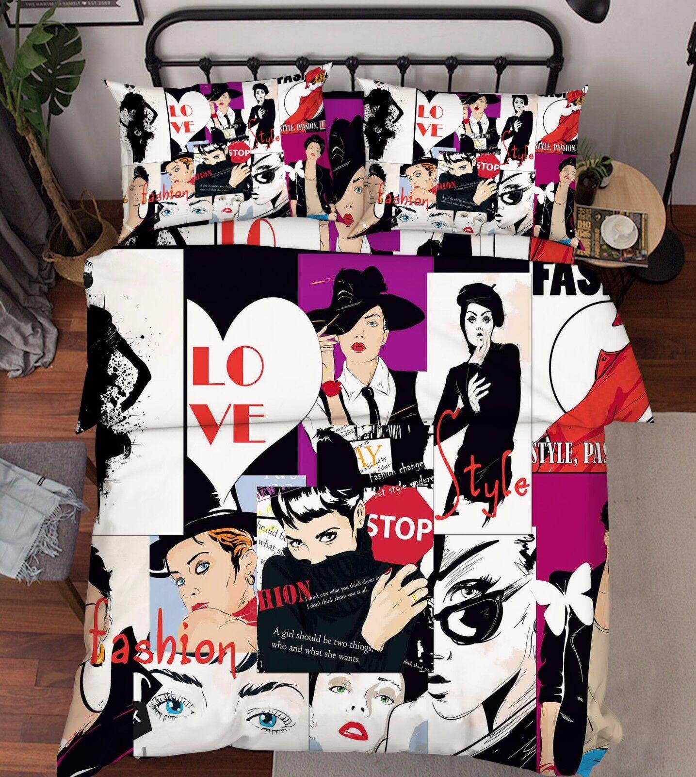 3D mode filles lit PilFaiblecass courtepointe couette Cover Set Single Queen roi Taille AU