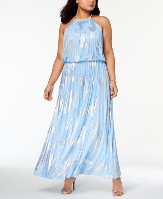 MSK Womens Blue Halter Metallic Pleated Maxi Dress Plus 14w BHFO 3870
