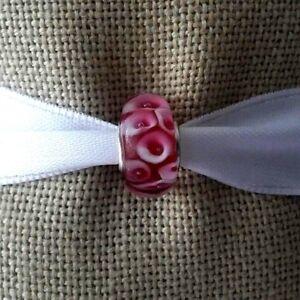 Red-White-Murano-Glass-Bead-Lampwork-For-European-Charm-Silver-Bracelet