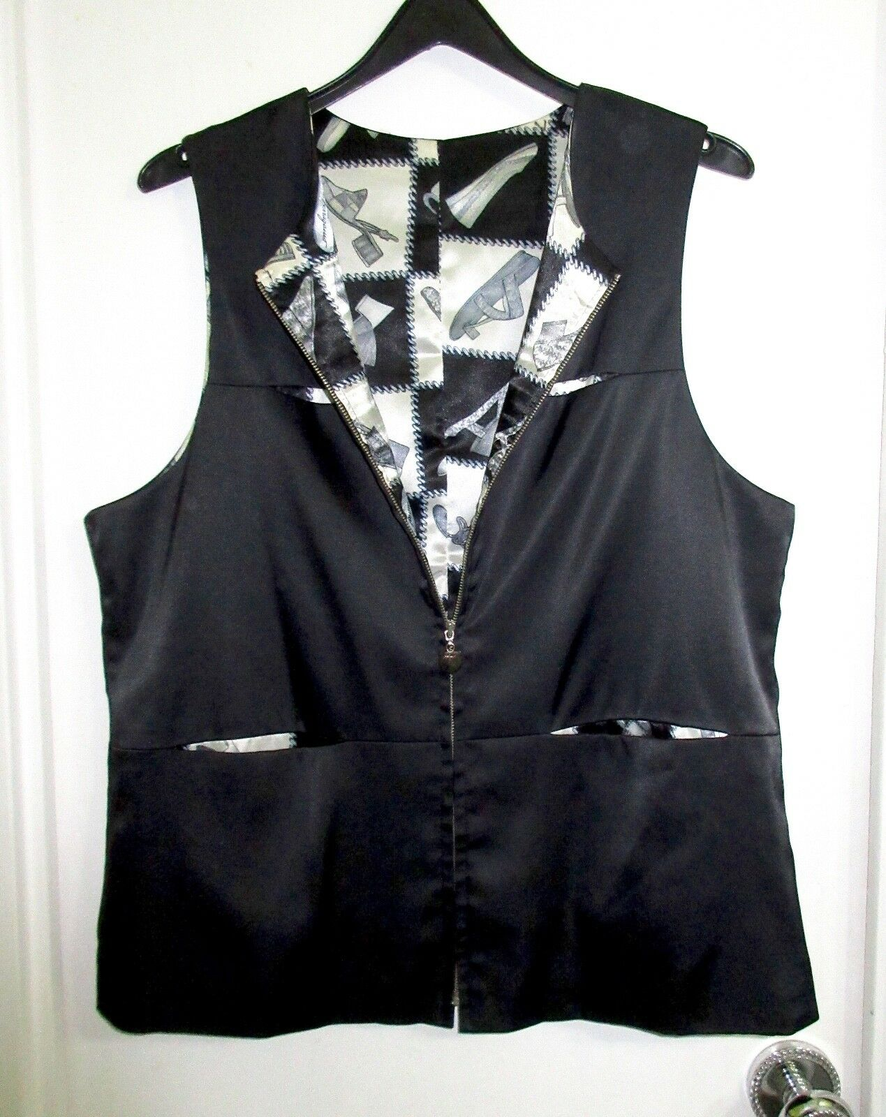 Ferragamo Silk M schwarz Top Zip Vest Sleeveless  Iconic schuhe Lining --Mint