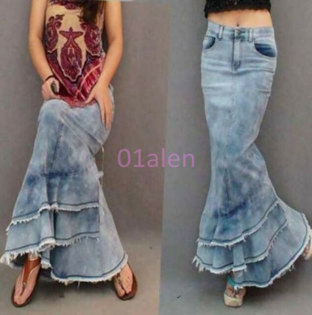 Lady Womens Jeans Gypsy Denim Fish Tail Ultra Maxi Long Skirts Chic Retro Dress