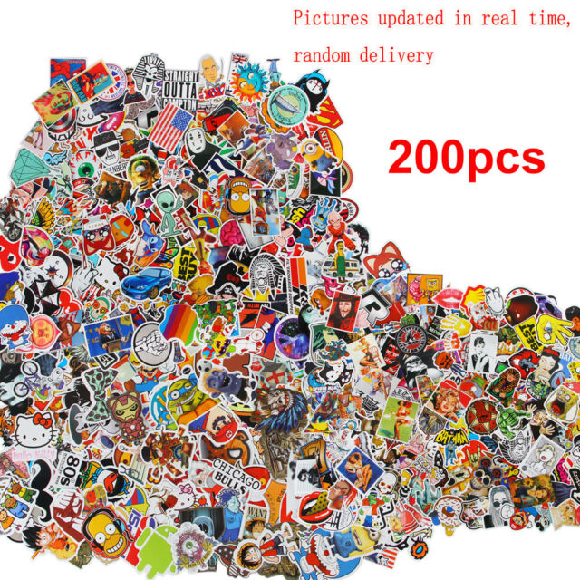200pcs/lot Random Car Decals Stickers Skateboard Sticker Graffiti Laptop Luggage