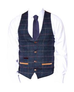 Hommes-Marc-Darcy-Vintage-Mode-Gilet-a-Carreaux-Eton-Bleu-Marine