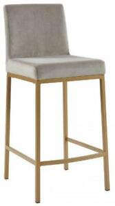 Gold Frame with Grey Velvet Kitchen Island Counter BarStool by ARTeFAC Toronto (GTA) Preview