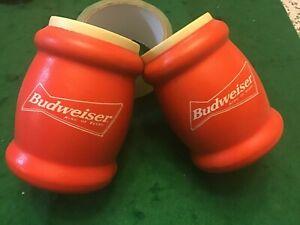 2 LOT Vintage Budweiser King Of Beers Software Tuffoam Koozie Beer Can Cooler