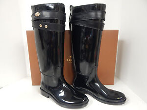 Coach Talia Waterproof Black Rubber Rain Boot W/ Gold Hardware On