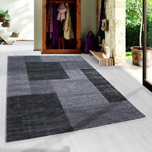 Moderner-Kurzflor-Teppich-Patchwork-gesaeumt-Wohnzimmer-Grau-Schwarz-Meliert