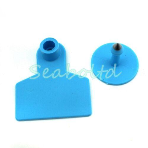 100X  Blue Blank Plastic Livestock Ear Tag Animal Tag for Goat Sheep Pig 5X4.2CM