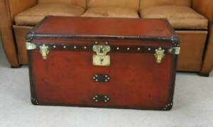 Antique-Handmade-Leather-Occasional-Side-Vintage-Table-Trunks