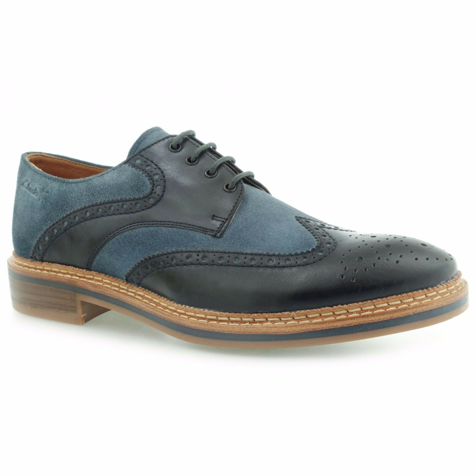 Clarks Mens Grimsby Limit bluee Leather & Suede Brogue shoes, UK 7 - 11
