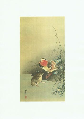 Japanese Reproduction Woodblock Print Ducks #1 Ohara Koson on Parchment Paper.