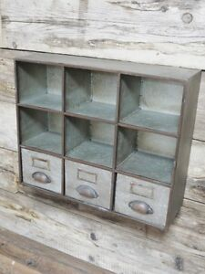 Image Is Loading Large Vintage Industrial Wall Cabinet Pigeon Hole Amp