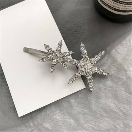Fashion Hollow Star Rhinestone Dangle Hairpin Hair Clip Women Bridal Jewelry 1PC