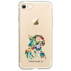 Coque Iphone 7 8 SE 2020 perroquet fleur personnalisee