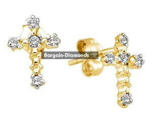 Image Is Loading Diamond Cross Stud Earrings 06 Carat 14k