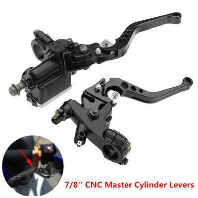 """Gray 7//8/"""" CNC Motorcycle Front Brake Clutch Master Cylinder Lever Set Reservoir"""