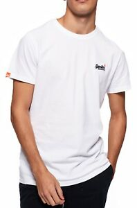Superdry Orange Label Crew Neck T-shirt Plain Cotton Tee Optic White