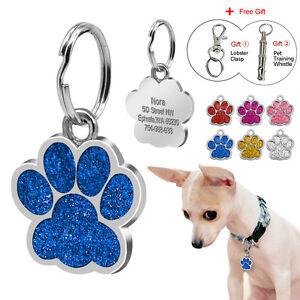 Custom-Engraved-Dog-Tags-Pet-Puppy-Cat-ID-Tag-Cute-PAW-PRINT-Kitten-Collar-Tags