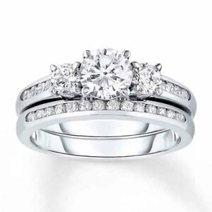Sterling Silver 925 Cz Round 3 Stone Engagement Ring Wedding Band