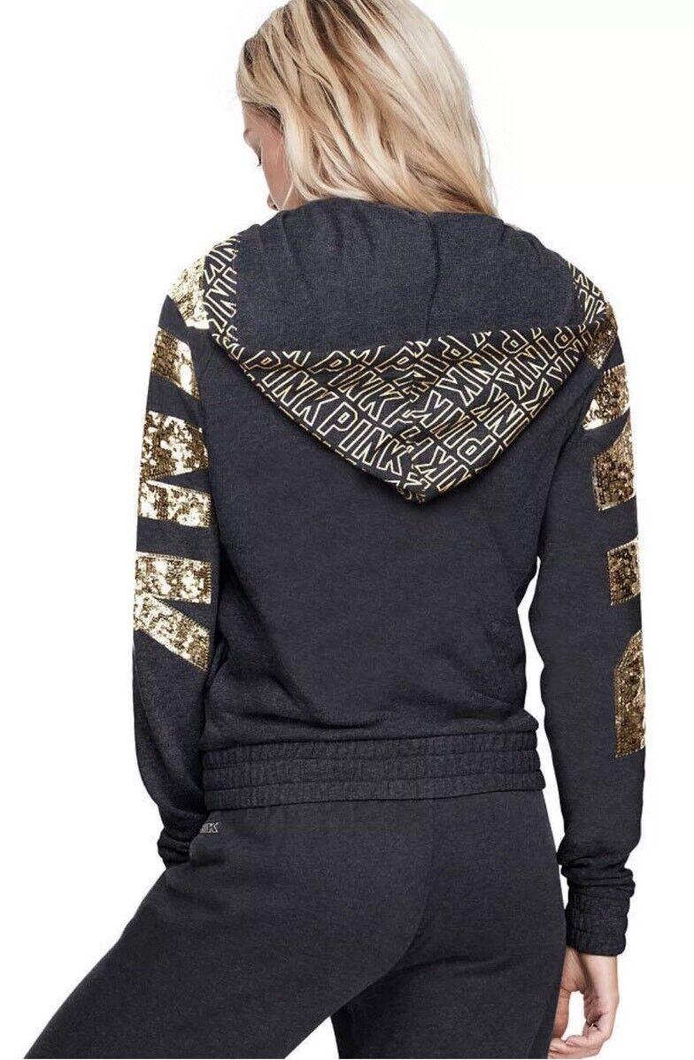 Victoria's Secret PINK Bling Perfect Full-Zip Hoodie Sweatshirt  Small