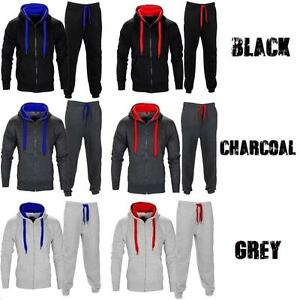 New-Mens-Hooded-Sports-Running-Jogging-Gym-Zip-Full-Tracksuit-Top-Bottom-Joggers