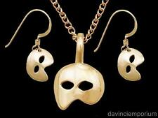 Phantom of the Opera Mask Necklace and Earrings Set 14k Yellow Gold